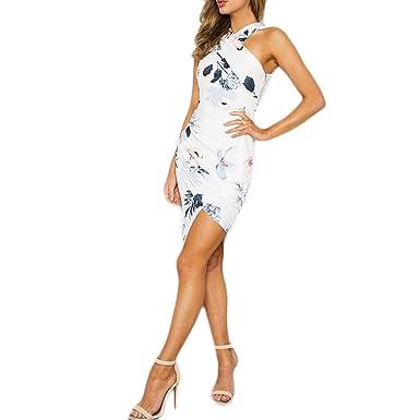 SANFASHION Bekleidung - Vestido - Trapecio o Corte en A - Sin Mangas - para Mujer Weiß2 Large: Amazon.es: Ropa y accesorios