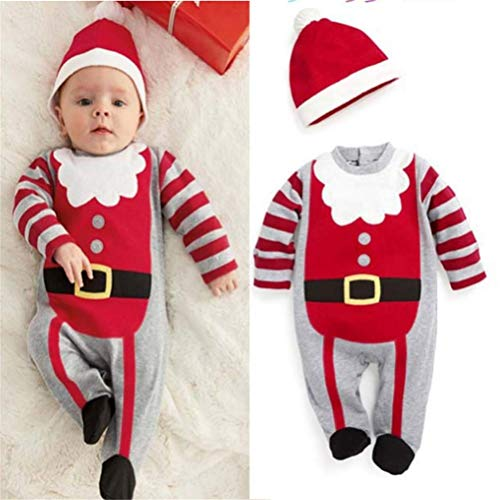 Mrsrui Baby Girls Boys Santa Christmas Pajama Jumpsuit