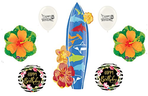 Hawaiian Surfer Girl Happy Birthday Flower Hibiscus Balloon Surfboard Waves and Sharks Mylar Latex Ocean Luau Party Supplies Decorations Bouquet Set by Ballooney's