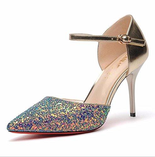 KHSKX-El Oro De 9Cm De Grosor Y Tacones Bajos Zapatos De Punta Brillante Ayuda A Poner Un Pie Bien Con Los Singles Femeninos Zapatos 38 35