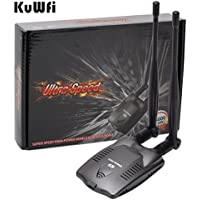 KuWFi Blueway BT-N9100 3000mw High power Wireless USB adapter Blueway Beini free internet USB Wireless Network Card Wireless wifi adapter Dual omni Antenna For PC (desktop WIFI signal)
