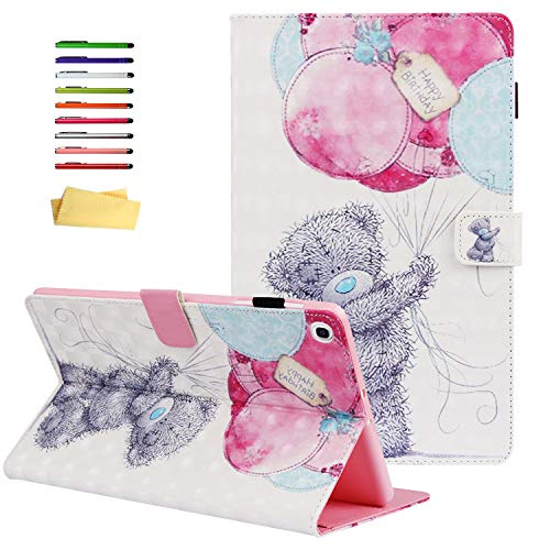 UUcovers for Samsung Galaxy Tab A 10.1 Inch Tablet Case 2019 (SM-T510/T515/T517) with Pencil Holder Multi-Angle Folio Stand PU Leather TPU Back Shockproof Cover Magnetic Closure Shell, Bear Balloon