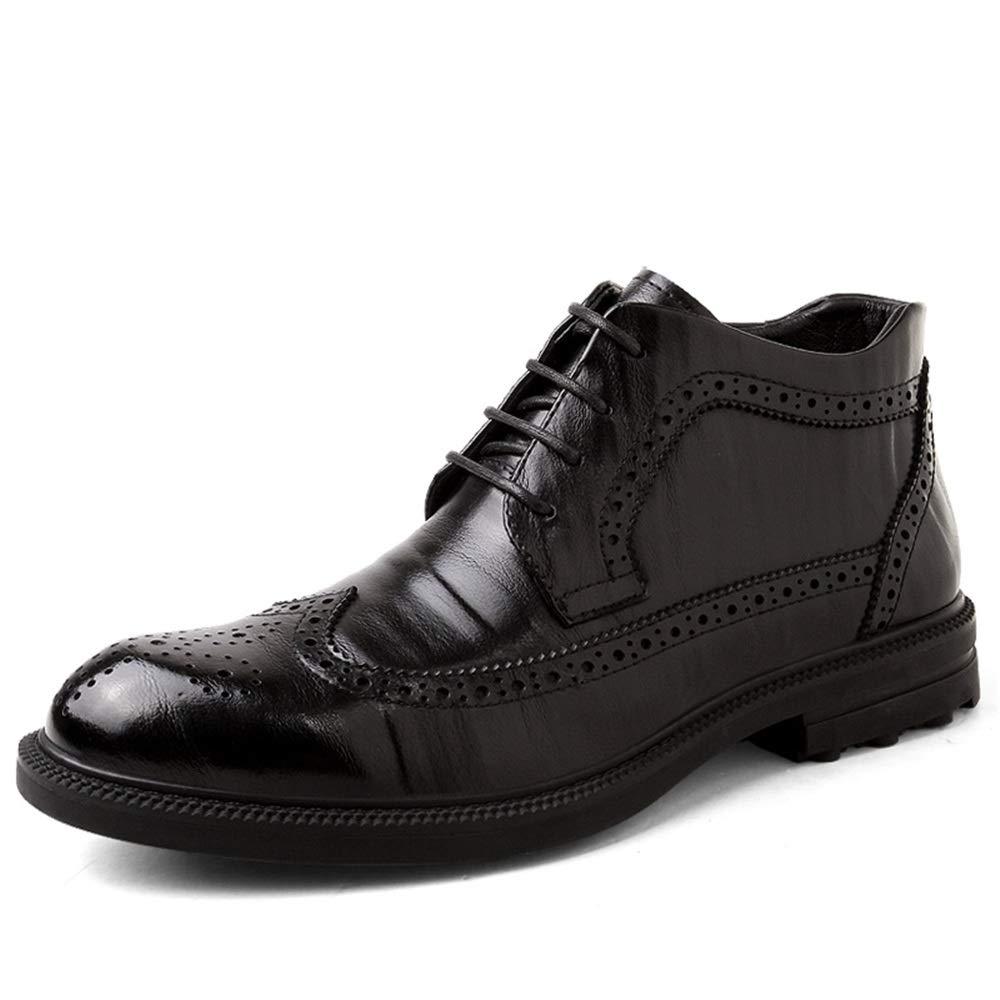 Apragaz Herren Oxford Brogue Stiefel Klassischer Schnürschuh Chelsea-Kleid Lässige Stiefeletten (Farbe   Warm schwarz, Größe   40 EU)