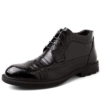 Apragaz Botas Oxford Brogue para Hombre Vestido con Cordones Clásico de Chelsea Botines Casuales (Color : Warm Black, tamaño : 44 EU): Amazon.es: Hogar