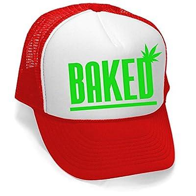 Men's Baked Weed Leaf Hat V358 Hat Red/White Trucker Hat