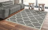 Ottomanson Paterson Collection Grey Contemporary Moroccan Trellis Design Lattice Area Rug, 53x70