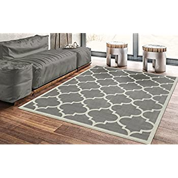 "Ottomanson Paterson Collection Contemporary Moroccan Trellis Design Lattice Area Rug, 5'3""x7'0"", Grey"