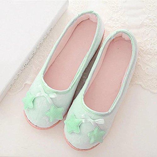 Transer® Damen Mädchen Zuhause Hausschuhe Warm Weich Kaschmir+EVA Nettes Blume Schuh Blau
