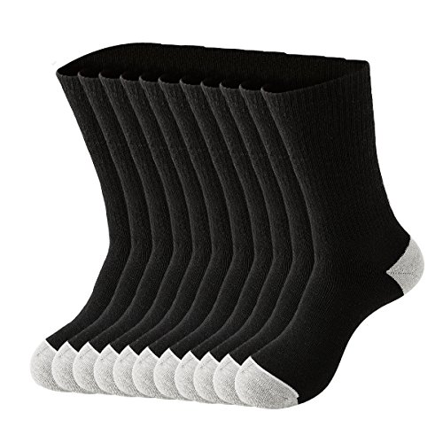 Hushwalk 10 Pack Men's White Terry-loop Cotton Cushion Athletic Sports Crew Socks (10-13, Black)