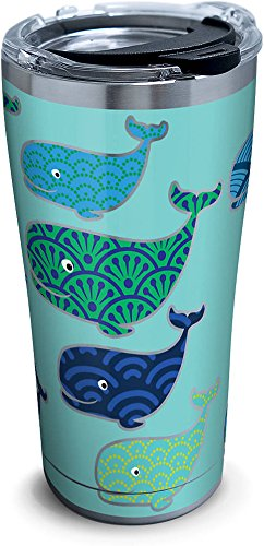 Tervis 1261335 Whale Pattern Stainless Steel Tumbler with Clear and Black Hammer Lid 20oz, Silver