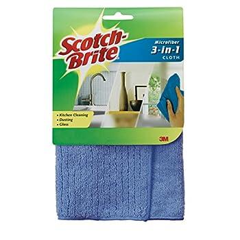 Scotch-Brite Microfiber 3-in-1 Cloth, 11.8 X 11.8 Inch Amazon Aspiración, Limpieza y Planchado Hogar y Cocina Productos y Utensilios de Limpieza Toallitas de Limpieza Utensilios de Limpieza