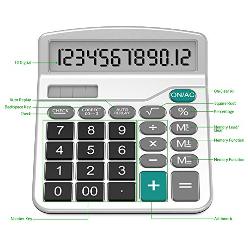 Calculator, Splaks Standard Functional Desktop Calculator Solar and AA Battery Dual Power Electronic Calculator with 12-Digit Large Display (2 Silver Calculator with Root Keys) by Splaks (Image #2)