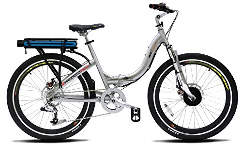 ProdecoTech Stride 36V300W 8 Speed Electric Bicycle 10Ah Samsung Li Ion, Brushed Aluminum, 18