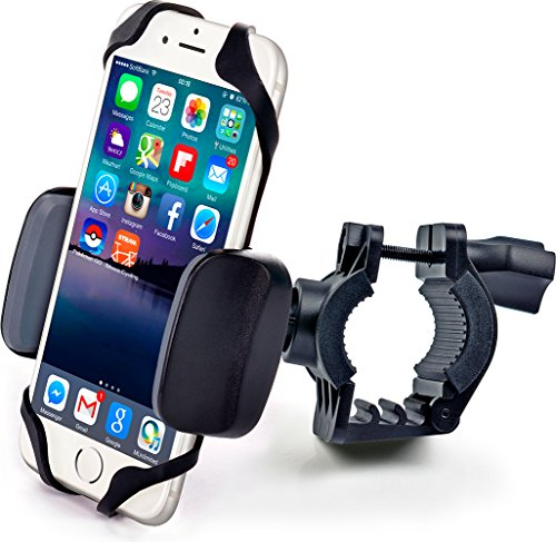 Bike & Motorcycle Phone Mount - for iPhone Xs (Xr, X, 8, 7, 6, Plus/Max), Samsung Galaxy or Any Cell Phone - Universal Handlebar Holder for ATV, Bicycle and Motorbike. +100 to Safeness & Comfort (Best Iphone 6 Mount For Bike)