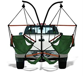Charming Trailer Hitch Stand And 2 Green Hammaka Chairs Combo   WD