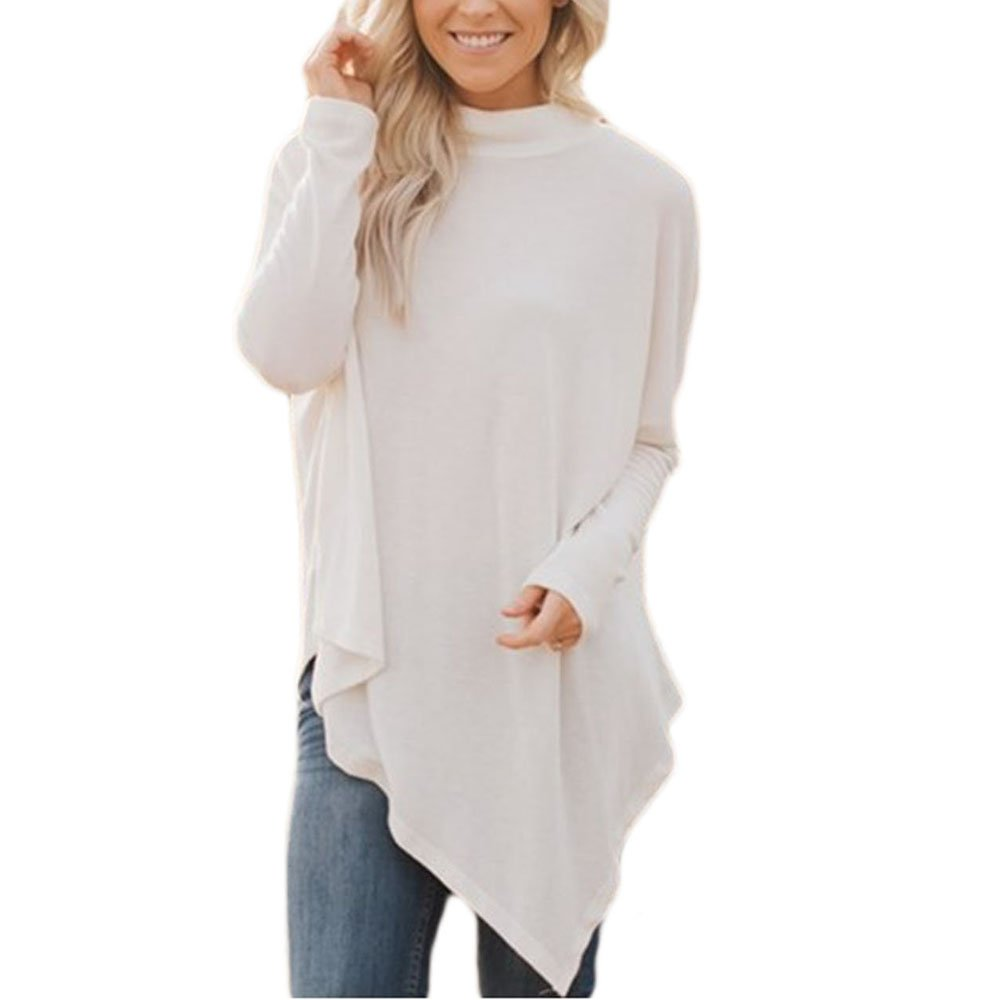 Lrud Women's Casual Turtleneck Poncho Capes Pullover Sweater with Sleeves Knitted Tops(S-2XL) White L