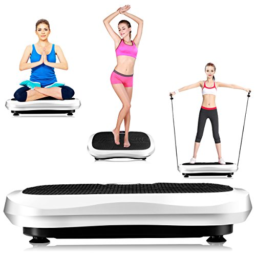 Goplus Fitness Vibration Machine Ultrathin Power Plate Full Body Shape Exercise Machine with Bluetooth Remote Control Resistance Bands Vibration Workout Trainer