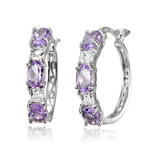 (Sterling Silver 6x4mm Oval Amethyst & Princess-cut White Topaz Filigree Hoop Earrings)