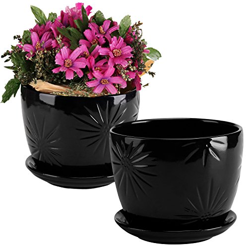 Set of 2 Black Starburst Design Ceramic Flower Planter Pots / Decorative Plant Containers with Saucers (Decorative Outdoor Plant Pots)
