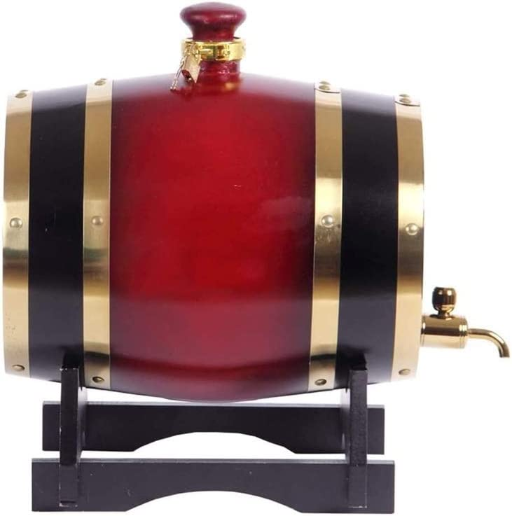 WJMLS La elaboración de Vino de Roble Americano envejecimiento Whisky Barrica Antigüedad su Propio Whisky, Cerveza, Vino, Tequila Bourbon, Tamaño: 50 L, Color: Rojo (Color : Red, Size : 3L)