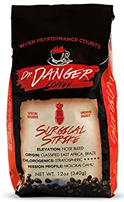 DrDanger Surgical Strike ► Ground Coffee Scientifically Selected, Blended & Roasted (12 oz)