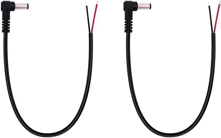 DC Power cable 5.5x2.5mm elbow to 5.5x3.0x1.0mm male right angle 1M wire charger