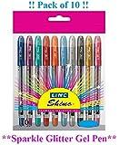 Linc Pen 10 x EXTRA SPARKLE GLITTER gel stylos à pointe fine de 0,7 mm 10 Couleur vive