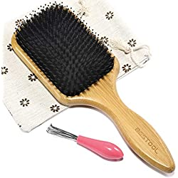 BESTOOL Hair Brush-Natural Boar Bristle Hair Brush with Nylon Pin, Wooden Paddle Brush for Mens Women Baby Hair Styling, Detangling, Adding Shine, To Set Frizz, Tangle, Oil, Wet, Dry or Damaged Hair
