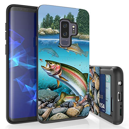 - Beyond Cell Slim Dual Layer Wallet Case for Galaxy S9 Plus, Card Slot + Wireless Charging Compatible - Trout Fish