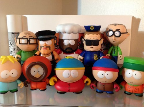 (South Park Kidrobot Set 10 Stan, Kyle, Cartman, Kenny, Butters, Chef, Mr. Garrison, Mr. Slave, Officer Barbrady & Mr. Mackey New W/Boxes, Foil, Cards & Accessories Sealed )