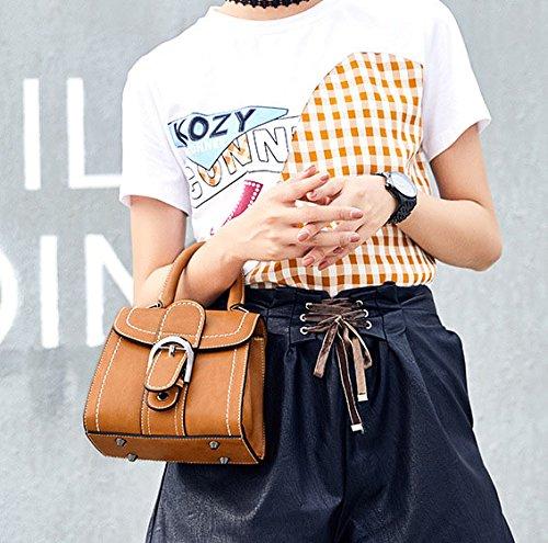 Cadeaux Carré Main Sac Petit Marron Diagonal Rose Satchel Boucle Vintage Vintage Top Sac Handle Marron à Femme Ceinture Couleur bandoulière Jxth Sac à aUAgqTwOx