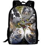 CY-STORE Dogs Collie Glance Animals Outdoor Shoulders Bag Fabric Backpack Multipurpose Daypacks For Adult
