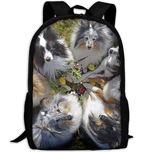 CY-STORE Dogs Collie Glance Animals Outdoor Shoulders Bag Fabric Backpack Multipurpose Daypacks For Adult by CY-STORE