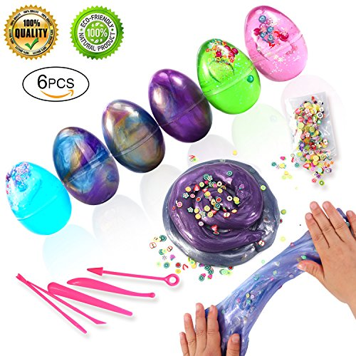 Soft Egg Slime Fluffy Slime Putty Stress Relief Colorful Crystal Pearl Galaxy Slime in Egg Toy Sludge Toys with Fruit Pack for Kids, Students, DIY, Birthday Party Favors (6 Pack) (Single Light Crystal Slices)
