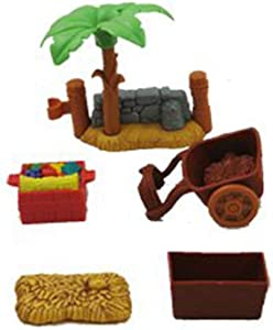 Replacements Parts For Little People Nativity & Christmas Story Nativity, (2 Fences, Food Crate, Cart, Hay Bale, and Hay Box)