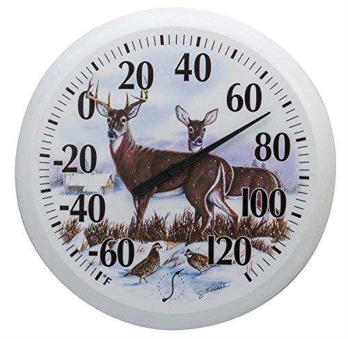 Springfield Outdoor Thermometer, 13.25-Inch, Winter Deer (Round Thermometer Outdoor)