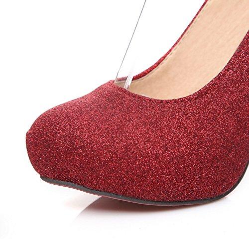 Balamasa Kvinners Perle Paljetter Glass Diamond Paljetter Pumper-sko Røde