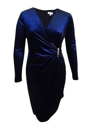 b06ab0de879 Calvin Klein Womens Velvet Shimmer Cocktail Dress Navy 8 at Amazon Women s  Clothing store