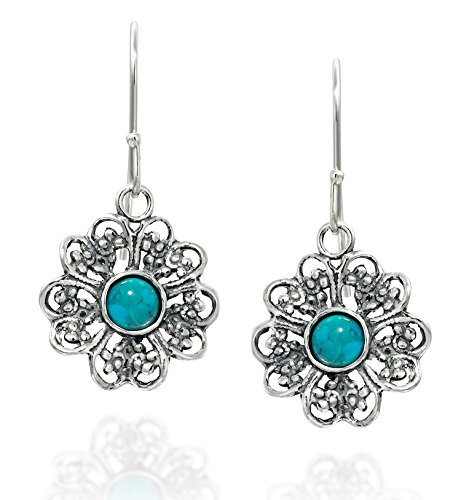 Filigree Flower 925 Sterling Silver Earrings with Reconstituted Turquoise Fashionable Women's Jewelry