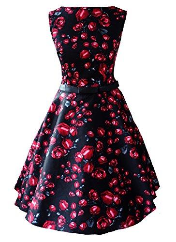 New Vintage 1950s diseño de flores diseño de rosas Swing Circle Party Dress Plus Size UK 6–26–negro y rojo