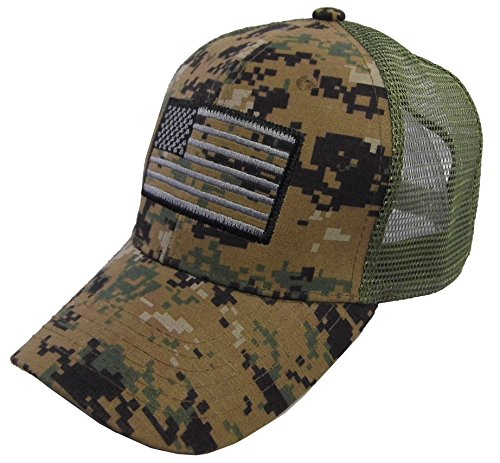 Bear Mesh - US American Flag Patch Tactical Style Mesh Trucker Baseball Cap Hat (One Size, Olive Camo)