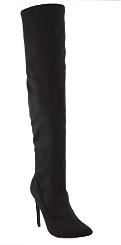 Ladies Thigh High Over The Knee Stretchy Lace Fetish Boots Stiletto Heel Size