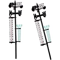 HOMYL 2 Set Weather Station Set Multifunction Rain Gauge Thermometers Vane Tool, 3 in one for Garden Outdoor,Measures Temperature, Rain, and Wind Speeds