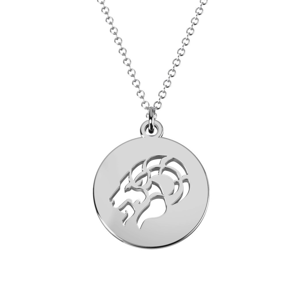 10K Gold Capricorn Zodiac Cutout Disc Necklace by JEWLR