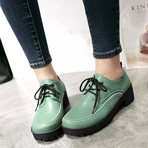 Latasa Womens Vintage Lace-up Platform Mid Chunky Heel Work Shoes Oxford Shoes Verde Antico