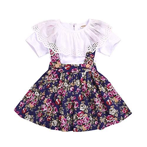 Toddler Kids Baby Girls Floral Skirt Set, Suspender Overall Skirt + Lace Short Sleeve White Top 2PCS (Teen Suspenders Girl)