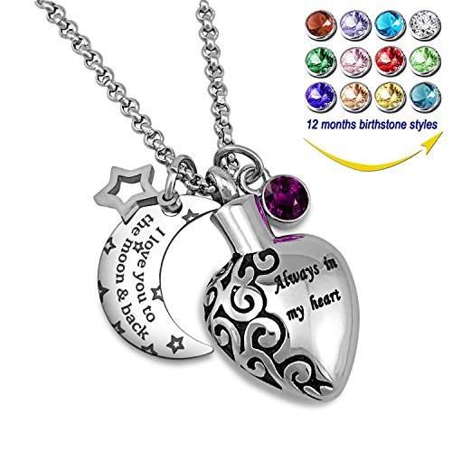 YOUFENG Urn Necklaces for Ashes Aways in My Heart I Love You to the Moon and Back Ashes Holder Pendant Necklace (February Birthstone URN necklace) (Ash Holder Pendant)