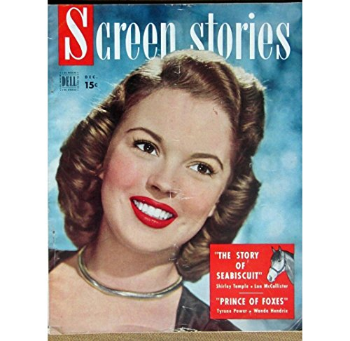 SCREEN STORIES December 1949 with SHIRLEY TEMPLE on the cover, scarce. Inside we have full page ad ADAMS RIB with Katharine Hepburn and Spencer Tracy. Articles/Photos inlcude: Orson Welles, James Mason, John Wayne, Shirley Temple, Roy Rogers, Mario Lanza . All magazines shipped in a protective-archival sleeve.