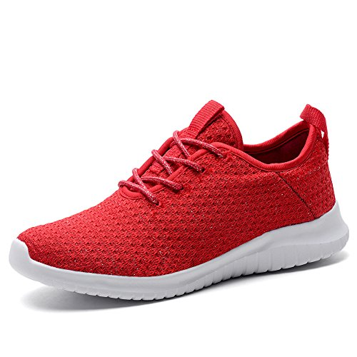KONHILL Women's Lightweight Sneakers Gold Threads Casual Athletic Sport Walking Running Shoes, Red, 38