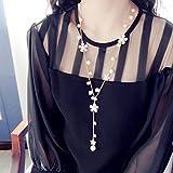 d5aa501461f8 greatfun Mujeres Moda perlas flor largo borla collar largo suéter cadena